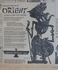 1946 newspaper ad for American President Cruise Lines - Javanese Shadow Puppet