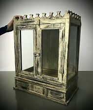 ANTIQUE VINTAGE INDIAN HOME SHRINE. ART DECO PERIOD, GLASS CABINET. CAPPUCCINO.