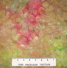 Bali Batik Fabric - Rings on Pink & Green - Princess Mirah Quilt Cotton YARD