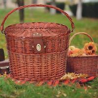 Willow Wicker Bicycle Bike Front Basket Handlebar For Pet Shopping Camping Fruit