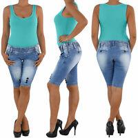 Damen Capri 3/4 Jeans Shorts Bemuda Kurze Hüft Stretch Hose Sommer Blau 1279