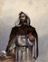 PORTRAIT OF SAINT DOMINIC Victorian Watercolour Painting - 19TH CENTURY - SIGNED