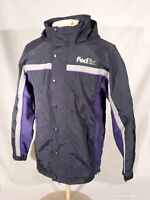 USED FED EX STAN HERMAN HOODED DELIVERY DRIVER WINBREAKER JACKET Size RG - M