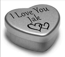 I Love You Jak Mini Heart Tin Gift For I Heart Jak With Chocolates or Mints