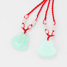 1pcs Red String Chinese Buddha Green Jade Pendant Beads Necklace