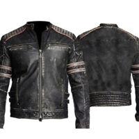 Retro Men`s Vintage Distressed Biker Motorcycle Black Leather Jacket