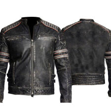 Retro Men`s Vintage Distressed Biker Motorcycle Black Leather Jacket