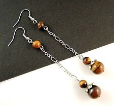 1 Long Dangle Pair of Platinum Plated Tigers Eye Gemstone Earrings #B25