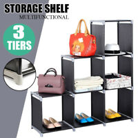 6 Cube DIY Storage Shelves Open Bookshelf Closet Organizer Rack Cabinet Black