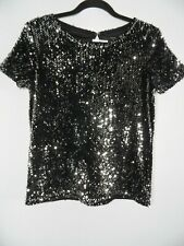 NEXT Black Top Silver Sequins Size UK6 Short Sleeves Clubwear Festival