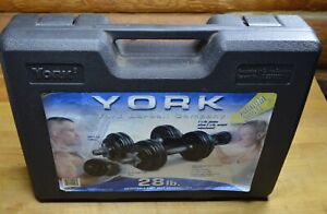 York Adjustable Cast Iron Dumbbells 28 lb Weight Set With Carrying Case