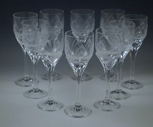 ROSENTHAL STUDIO IRIS FROSTED ETCHED set of 10 CORDIALS GOBLETS MODERN