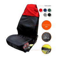 Waterproof Red & Black Car Front Seat Cover Heavy Duty Airbag Compatible