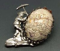 Art Deco Silver-tone Jelly Belly Stone Gold Miner Axe Brooch Vtg Estate Jewelry