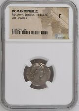 Roman Republic 114/3 BC AR Silver Denarius NGC F Marcus Aemilius Lepidus