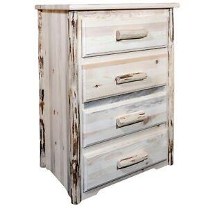 Rustic Log Dresser 4 Drawer Chest Amish Made Montana Lodge Cabin Dressers