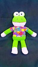 "Dan Dee Light Green Fleece Frog Peace Sign Shirt 17"" Plush Stuffed Animal Toy"
