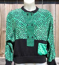 Vintage Retro Jo Hardin Green and Black Sweater Blouse Women's Sz L
