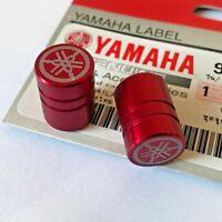 2 x Yamaha Tyre Wheel Dust Valve Caps Tuning Fork RED ** GENUINE & UK STOCK **