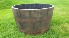 45CM TALL OAK HALF WHISKY BARREL ICE BUCKET FISH POND LILLY WATER FEATURE TUB