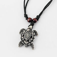Turtle Tortoise Pendant Surfer Necklace Adjustable 3Pcs Faux Yak Bone Double Sea