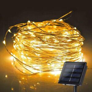 100/200 LED Lichterkette Solar Kupferdraht Beleuchtung Garten Party Deko Außen