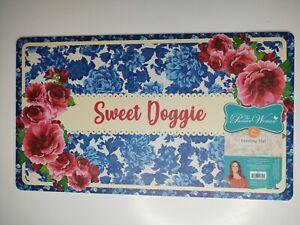 The Pioneer Woman Pet Dog Cat Feeding Mat Blue Floral Sweet Doggie