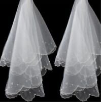 White Ivory Wedding Veils For Bride Beaded Pearls Bridal Accessories 1.5M 1Tier