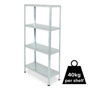 Garage Shelving Rack 4 Tier - Storage Unit Organiser Narrow Tall Shelf Shed Tidy