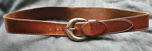 """Levi's brown branded leather belt, silver buckle, 39"""" length, last hole 34/36"""""""