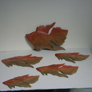 """Beautiful Hand Carved Set Of 5 Fish 8"""". 5 - 8"""" - 7"""".5 -  7"""" - 6"""" 4 Inch In Teak"""