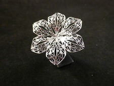 Delicate Large Adjustable Silver Toned Filigree Cocktail / Oversized Flower Ring