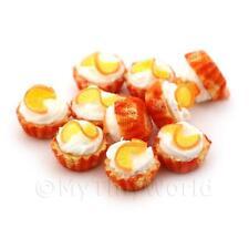 4x Miniature Naranja Crema con un tazas de papel Naranja Cupcakes