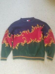 Men's VINTAGE Tommy Hilfiger Blue Red Green Royal Paisley Sweater Sz M/S