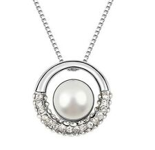 18K Gold GP Made With Swarovski Crystal Elements White Pearl Circle necklace