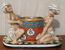 ANTIQUE ART NOUVEAU INKWELL WITH PERSIAN HAREM FIGURES