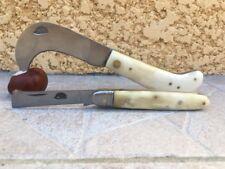 Lot de 2 couteaux de poche serpette & greffoir manche en os bovin