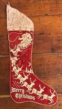 Vtg 1930's 1940's Merry Xmas Stocking Reindeer Santa Stenciled Red Felt Stitched