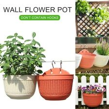 Imitation Rattan Weaving Flower Pot Wall Hanging Plant Grow Baskets Yard Balcony