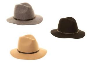 Ladies Fedora Wool Felt Hat Wide Brim Trilby Studded Belt Band 3 Colours 1 Size
