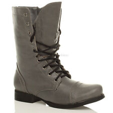 WOMENS GREY COMBAT MILITARY WORK ARMY BOOTS SIZE 3 36
