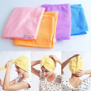 1X Lady Hair Wrap Head Towel Turbie Turban Twist Drying Cap Loop Button Hat