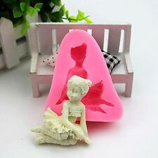 Silicone Praying Angel Baby mould Cake Topper Fondant Christening Icing Soap