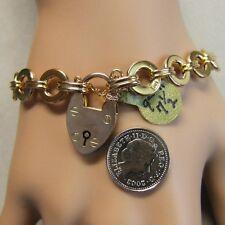9 ct GOLD second hand old rose gold charm bracelet