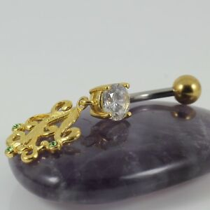 Belly Navel Bar Clear Crystal & Peridot Yellow Gold Filigree Motif 1.6 x 10mm