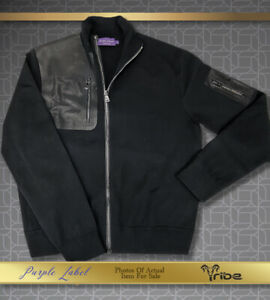 Ralph Lauren Purple Label Men's New Black Wool Leather Sweater Jacket was$1295
