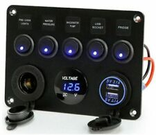 5 Gang Switch Panel Car Boat ON OFF Toggle Dual USB Socket Charger Voltmeter 12V