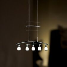 WOFI lámpara colgante LED Atlanta 5 LLAMAS Níquel Cristal Blanco Ajustable