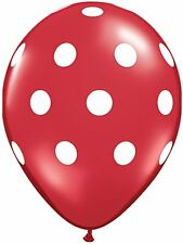 "10 pc - 11"" Qualatex Big Polka Dot Red Latex Balloon Party Decoration Baby"