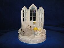 New Lighted Chapel Mirrored Windows Wedding Caketopper Bride & Groom & car